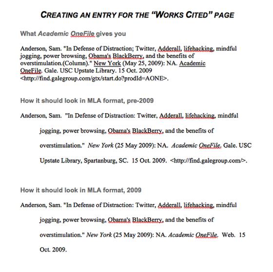 correct heading mla essay